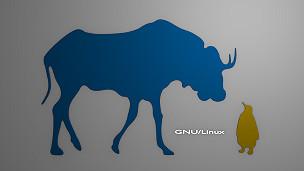 Un toro y un pingüino, representando a GNU y a Linux.