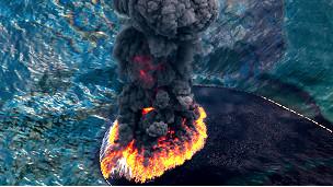 Cortina de humo y fuego en el Golfo de México